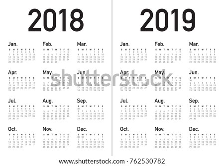 year 2018 2019 calendar vector design template simple and clean design