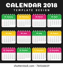 Year 2018 Calendar Simple Clean Template. Rounded Frame Colorful Design for Room Office, Kids Children School wall or desk.