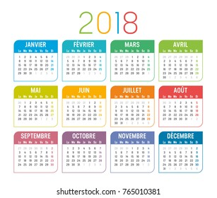 Year 2018 colorful minimalist calendar, in French language, on white background. Vector template