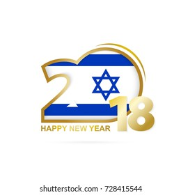 Year 2018 with Israel Flag pattern. Happy New Year Design. Vector Illustration.