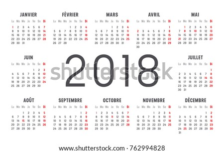 year 2018 minimalist calendar in french language on white background vector template