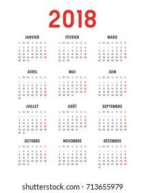 Year 2018 minimalist calendar, on white background. French language