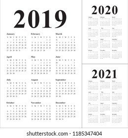 Year 2019 2020 2021 calendar vector design template, simple and clean design