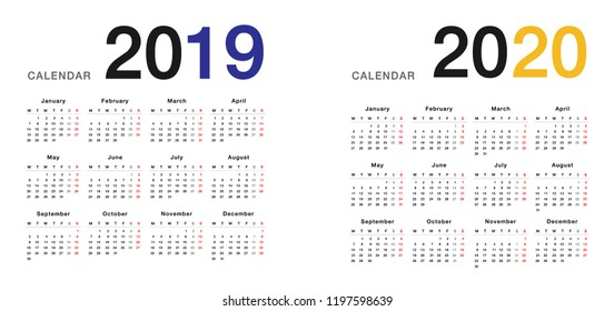 year 2019 and year 2020 calendar horizontal vector design template simple and clean design