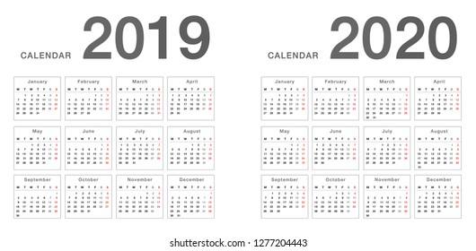 Year 2019 and Year 2020 calendar horizontal vector design template, simple and clean design. Calendar for 2019 and 2020 on White Background for organization and business. Week Starts Monday.