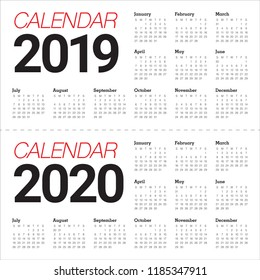 Year 2019 2020 calendar vector design template, simple and clean design