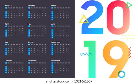 Year 2019, Calendar Design. - Vector