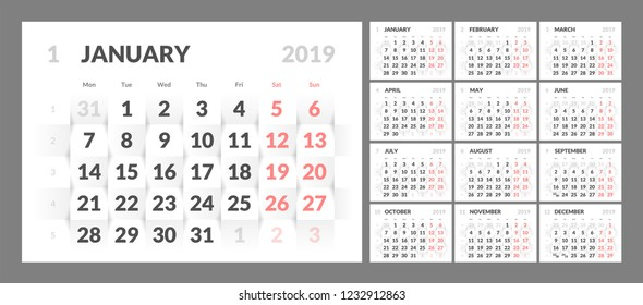 Year 2019 calendar on white abstract texture. Vector background 3d paper art style. Horizontal design template with numbers of days of weeks. Week Starts Monday.