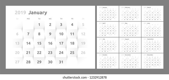 Year 2019 calendar on white abstract texture. Vector background 3d paper art style. Horizontal design template. Week Starts Sunday.