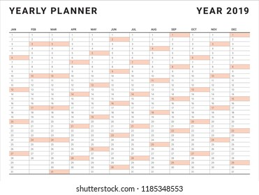 Year 2019 calendar vector design template, simple and clean design