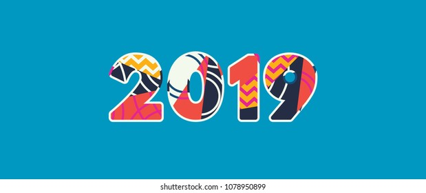 The year 2019 concept written in colorful abstract typography. Vector EPS 10 available.