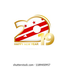 Year 2019 with District of Columbia Flag pattern. Happy New Year Design. Vector Illustration.