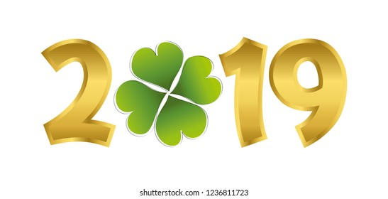 the year 2019 in golden numbers with a cloverleaf