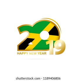 Year 2019 with Jamaica Flag pattern. Happy New Year Design. Vector Illustration.
