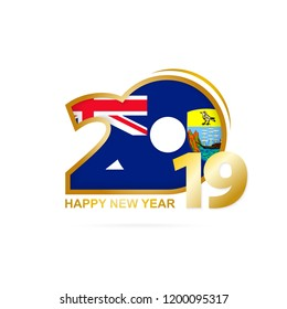 Year 2019 with Saint Helena Flag pattern. Happy New Year Design. Vector Illustration.