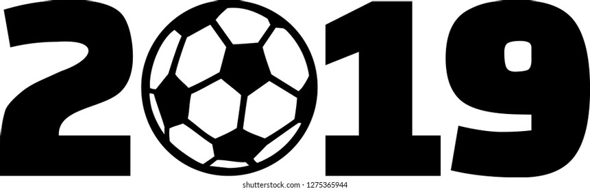 Year 2019 with soccer ball