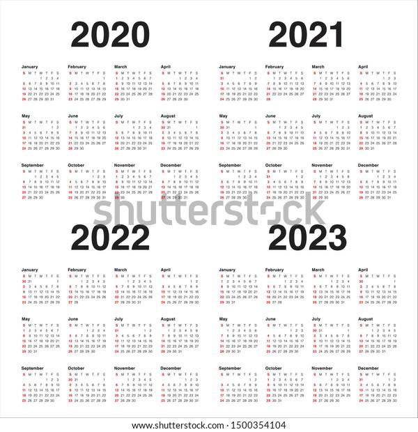 2022 To 2023 Calendar.Year 2020 2021 2022 2023 Calendar Stock Vector Royalty Free 1500354104