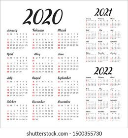 Year 2020 2021 2022 calendar vector design template, simple and clean design