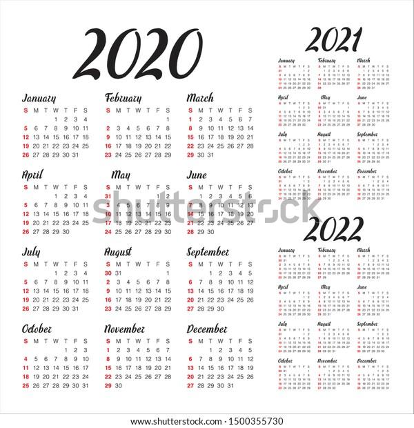 Image vectorielle de stock de Année 2020 2021 2022 calendrier