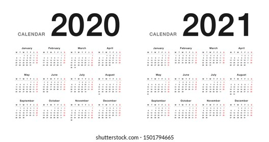 Year 2020 and Year 2021 calendar horizontal vector design template, simple and clean design. Calendar for 2020 and 2021 on White Background for organization and business. Week Starts Monday.