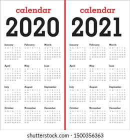 Year 2020 2021 calendar vector design template, simple and clean design