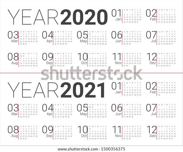 2020 2021년 달력 벡터 디자인 템플릿, 스톡 벡터(로열티 프리) 1500356375