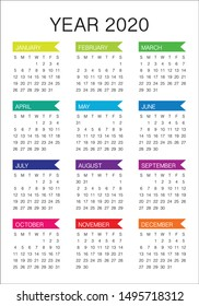 Year 2020 calendar vector design template, simple and clean design