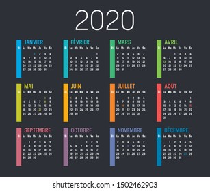 Year 2020 colorful minimalist calendar; in French language; on black background. Vector template