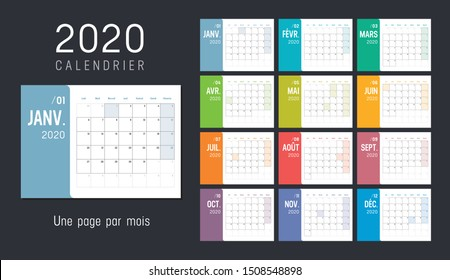 Year 2020 colorful monthly calendar, in French language, on black background. Vector template.