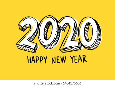 year 2020 handwritten with marker on yellow background