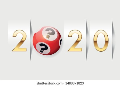 The year 2020 on the concept of luck in the game, with for symbol a lotto ball expressing chance in the hope of becoming rich.