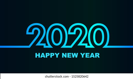 Year 2020 - simple greeting card, invitation, flyer, poster or design element - cold - cyan bluish blue outline - vector illustration
