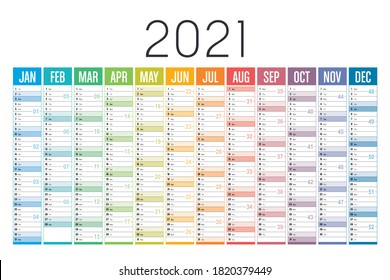 Year 2021 one page colorful calendar, on white background. Vector template.