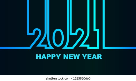 Year 2021 - simple greeting card, invitation, flyer, poster or design element - cold - cyan bluish blue outline - vector illustration