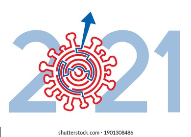 Year 2021, solution of coronavirus pandemic.  Coronavirus symbol labyrinth, solution way out concept. Vector available.