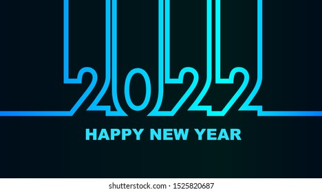 Year 2022 - simple greeting card, invitation, flyer, poster or design element - cold - cyan bluish blue outline - vector illustration