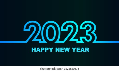 Year 2023 - simple greeting card, invitation, flyer, poster or design element - cold - cyan bluish blue outline - vector illustration
