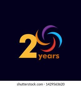 Year Anniversary Rainbow Vector Template Design Illustration