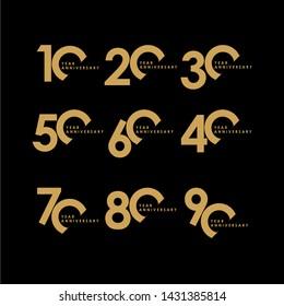 Year Anniversary Set Celebration Vector Template Design Illustration