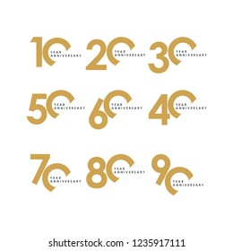 Year Anniversary Set Vector Template Design Illustration
