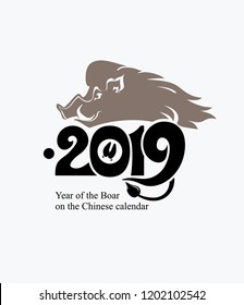 Year of the Boar 2019. Pig 2019. Flat template. New Year's design on the Chinese calendar. Vector illustration.