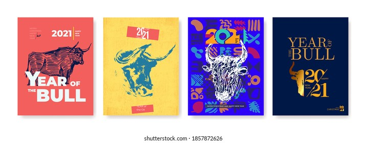 Year of the bull. Abstract illustration for the 2021 new year for poster, background or card. Freehand drawing for the year of the bull according to the Eastern Chinese calendar vector illustration.
