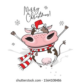 Year of the bull. Funny cheerful Cow in a striped scarf and in a red Santa's hat. Merry Christmas – lettering quote. New Year card, hand drawn style print. Vector cartoon illustration.