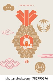 Year of dog 2018/ Invitation card/ Chinese new year 2018/ translation: Prosperous in the year of dog, blessing