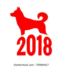 Year of The Dog, Chinese zodiac symbol of 2018 dog year. Isolated on white background.
