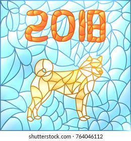 Year of Earth Dog 2018. Dog Symbol of 2018 Year in Chinese Horoscope Calendar. Vector Illustration of Dog in Stained Glass. Colorful Vector Background.