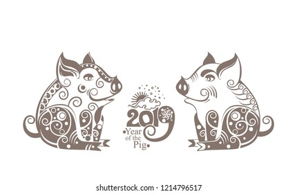 Year of The Earth Pig. 2019. Two silhouettes of stylized pigs decorated with ornament. Chinese Zodiac Sign Pig 2019. Happy Chinese New Year. Vector illustration.