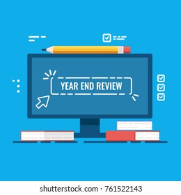 Year end review vector concept, project report, year end Summary, computer monitor with heap of books flat vector illustration