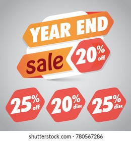 Year End Sale 20% 25% Off Discount  Tag for Marketing Retail Element Design