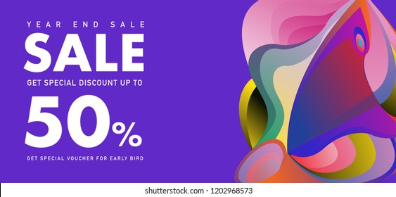 year end sale 50% discount banner with colorful abstract  background